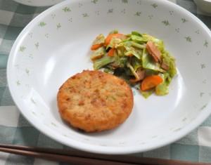 「豆腐まさご揚げとベーコン・キャベツのカレーソテー」